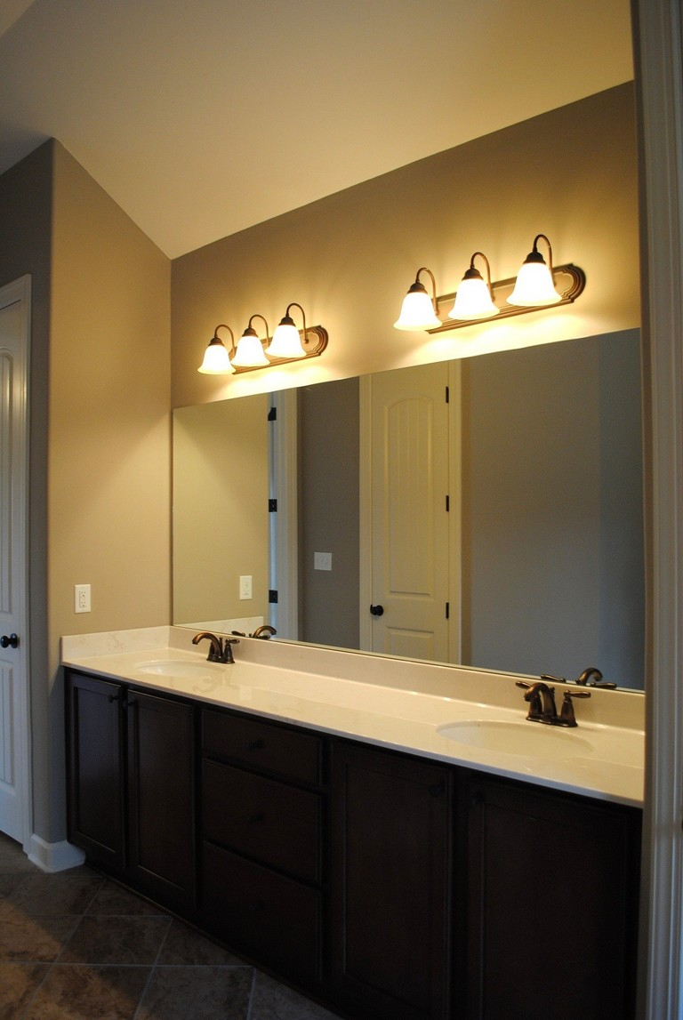 Bathroom Mirror Placement Over Vanity Top Home Information