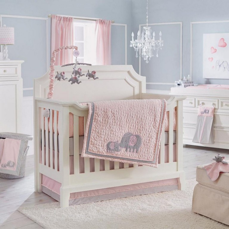 Baby Girl Elephant Crib Bedding Sets